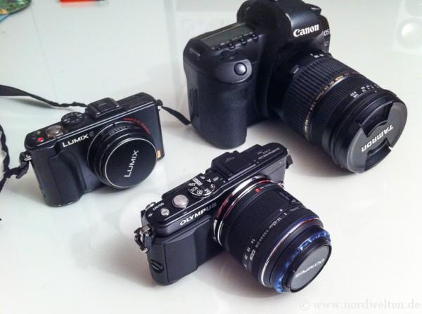 Canon 5D Mark II, Lumix LX-5 und Olympus E-PL5